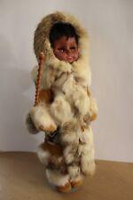 """Vintage Eskimo Inuit Doll blinky sleepy eye w/ Real Fur 18"""" Alaska handmade"""
