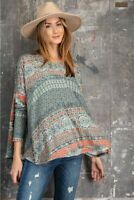 Easel Bohemian Print Long Sleeve Hacci Knit Flyaway Top Size Small
