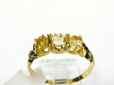 Victorian 14k Gold Sterling Silver Natural 3 Stone Citrine Engraved Ring I063C