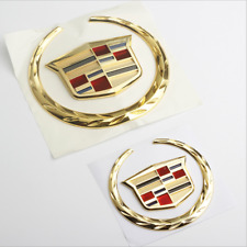 Gold Cadillac Logo Front Grille Rear Trunk Lid Emblem for CTS SRX Escalade