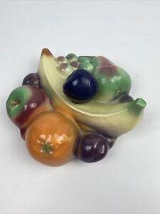 3D Mixed Fruit Wall Plaque Ceramic Apple Banana Orange Grapes Plum Pear