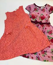 Two Beebay Summer Dresses Party Church Wedding Floral Pink Orange Size 5