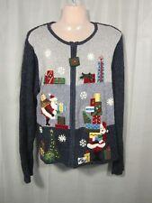 Ugly Christmas Sweater Women's Extra Large XL Tiara International Santa Blue