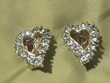 Sarah Coventry Signed Sc Rhinestone Clip On Earrings Light blue open Hearts