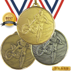 SPEEDWAY MOTOCROSS BRASS MEDAL 52mm BEST QUALITY, FREE RIBBON, 3 COLOURS,