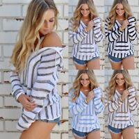 V-neck Fashion Women Long Sleeve Hooded Knitting Sweater Loose Stripe Cardigan