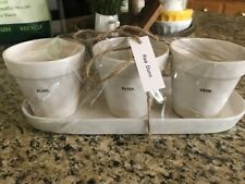 """Brand New RAE DUNN THREE FLOWER POTS AND TRAY SET """"PLANT"""" """"GROW"""" """"BLOOM"""""""