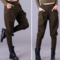 Ladies Loose Harem Casual Pants Stretchy Waist Boots Cut Cargo Military Trousers