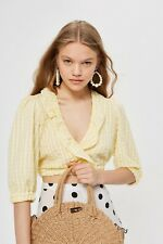 BNWT TOPSHOP SIZE 12 YELLOW CHECK GINGHAM RUFFLE CROPPED BLOUSE SHIRT