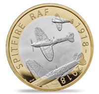 2018 £2 TWO Pound BRILLIANT UNCIRCULATED Coin - 100TH RAF Spitfire AIRPLANE RARE