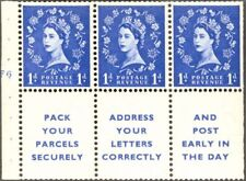 Great Britain - 1956 - 1 Pence Blue Booklet Pane of 3 w/ Labels #318a Vf Nh Nice