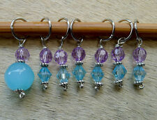 Stitch markers for knitting or crochetting work, 7 pcs, blue and purple crystal