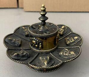 Round Bronze Tibetan Buddhist Incense Burner for Dharma Practice Stupa Motif