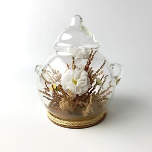 """VINTAGE Faux Floral DISPLAYED IN A GLASS DOME TEAPOT 7.5"""""""