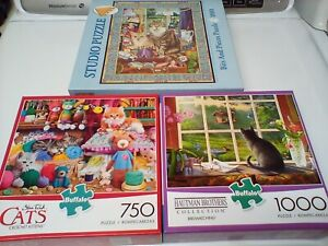 LOT OF 3 USED CAT KITTEN JIGSAW PUZZLES BUFFALO AND BITS AND PIECES 750/1000PC
