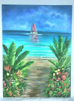 "Original Acrylic Painting 12""x16"" Canvas Panel,Tropical Flowers Beach Decor Art"