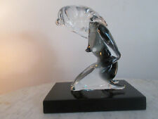 Murano NUDE FEMALE Crystal SCULPTURE Italian Art Glass Black Base & Smoked Lady