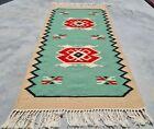 Authentic Hand Knotted Vintage Turkish Wool Kilim Kilm Area Rug 3 x 2 Ft