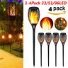 1-4 Pack 33/51/96 LED Waterproof Solar Torch Light Dancing Flickering Flame Lamp