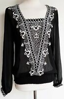 NEXT Womens Blouse Top Chiffon Folk Boho Embroidered Yoke Loose Women £35