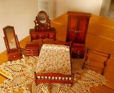 7 Vintage Wood Dollhouse Bedroom Furniture Pieces ~ Bed, Mirror, Vanity, Etc.