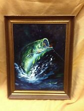 BASS FISHING IN ACTION OIL PAINTING BEAUTIFUL VIVID COLORS BY J. LOWRY FRAMED