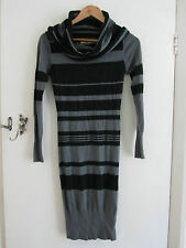 Part Angora Black & Grey Stripe Long Sleeve Jumper Dress in Size 8 by Ringspun