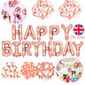 51pc Rose Gold Foil Confetti Latex Balloons Happy Birthday Bunting Banner Party