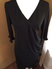 Motherhood Maternity Dress Sz M Black Mock Wrap Crossover Neck 3/4 Sleeves