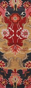 """Floral Transitional Oriental Runner Rug Wool Hand-Tufted 2' 7"""" x 8' 0"""" Carpet"""