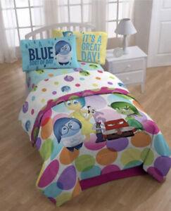 Disney Pixar Inside Out Full Sheet Set 4 Piece Fitted Flat Sheet, 2 Pillow Cases