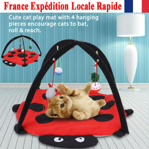 Lit d'animal familier de coton de tente tapis de jeu d'activité de chat pliable