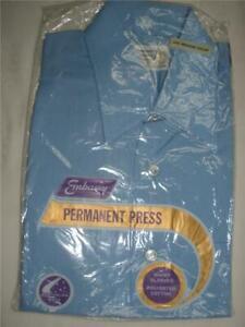 MENS PERMANENT PRESS SHIRT EMBASSY BLUE SHORT SLEEVE SIZE 151/2 NEW SEALED