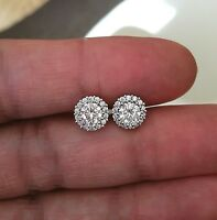 1Ct Diamond Halo Stud Earrings Brilliant Round Diamond Earring 14k White Gold