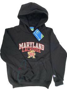 University of Maryland UM Terrapins Lacrosse Black Fleece Hoodie Youth Medium-8