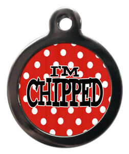 Pet ID tag Red with white dots Dotty Picture design I'M CHIPPED