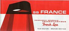 1960s SS FRANCE Full Ship Deck Plan w/ Interior Pics-  NAUTIQUES sHiPs WORLDWIDE