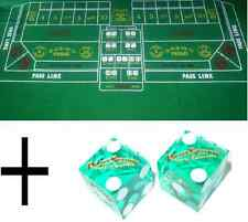 Green Craps Casino Cloth Baize Felt- Layout + CHOICE OF CASINO CRAPS