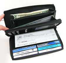 Black Genuine Leather Woman 2 Zip Checkbook Coin Card Organizer Clutch Wallet