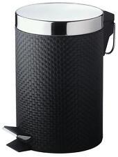BLACK PVC LEATHER LOOK 3 LTR MINI SIZE PEDAL BIN - BA2002
