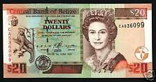 BELIZE 20 DOLLARS P63 1997 QUEEN JAGUAR FAUNA UNC RARE CARIBBEAN GB UK BANK NOTE
