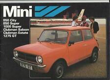 Mini 850 Ciudad,850 Super,1000 Super, Clubman saloon/estate,275 Gt folleto July1980