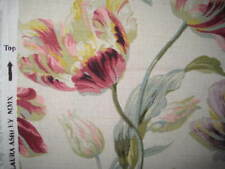NEW LAURA ASHLEY GOSFORD CRANBERRY FLORAL LINEN FABRIC MATERIAL (PER METRE)