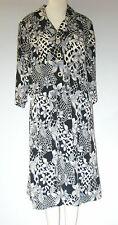 D'ALLAIRD'S Black White  Size M 3/4 Sleeve Floral Dress
