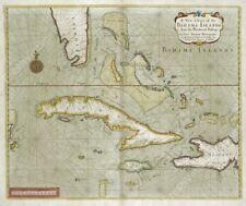 1702 Bahamas Cuba Florida antique map chart Samuel Thornton new poster 20x24