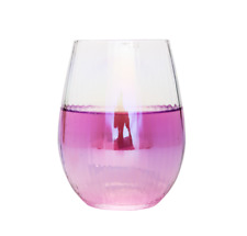 Drinkware, luster, Stemless Wine Glasses, Wedding, Party, Set of 6, Cap 16 Oz
