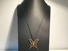 Nuevo - Collar Necklace REBECCA - Cordon Negro + Colgante Mariposa Acero Bronce