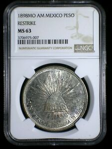 Mexico 2nd Republic 1898 Mo AM Silver Peso *NGC MS-63* 1949 Restrike Half Toned