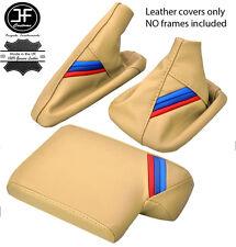 En cuir beige m rayures gear frein à main accoudoir couverture pour bmw E90 E91 E92 E93