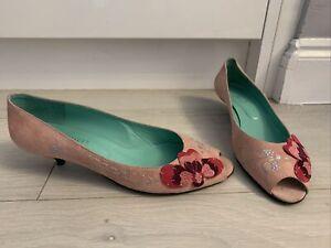 Office Pink Suede Leather Kitten Heel Peep Toe Vintage Court Shoes Size 8 EU41